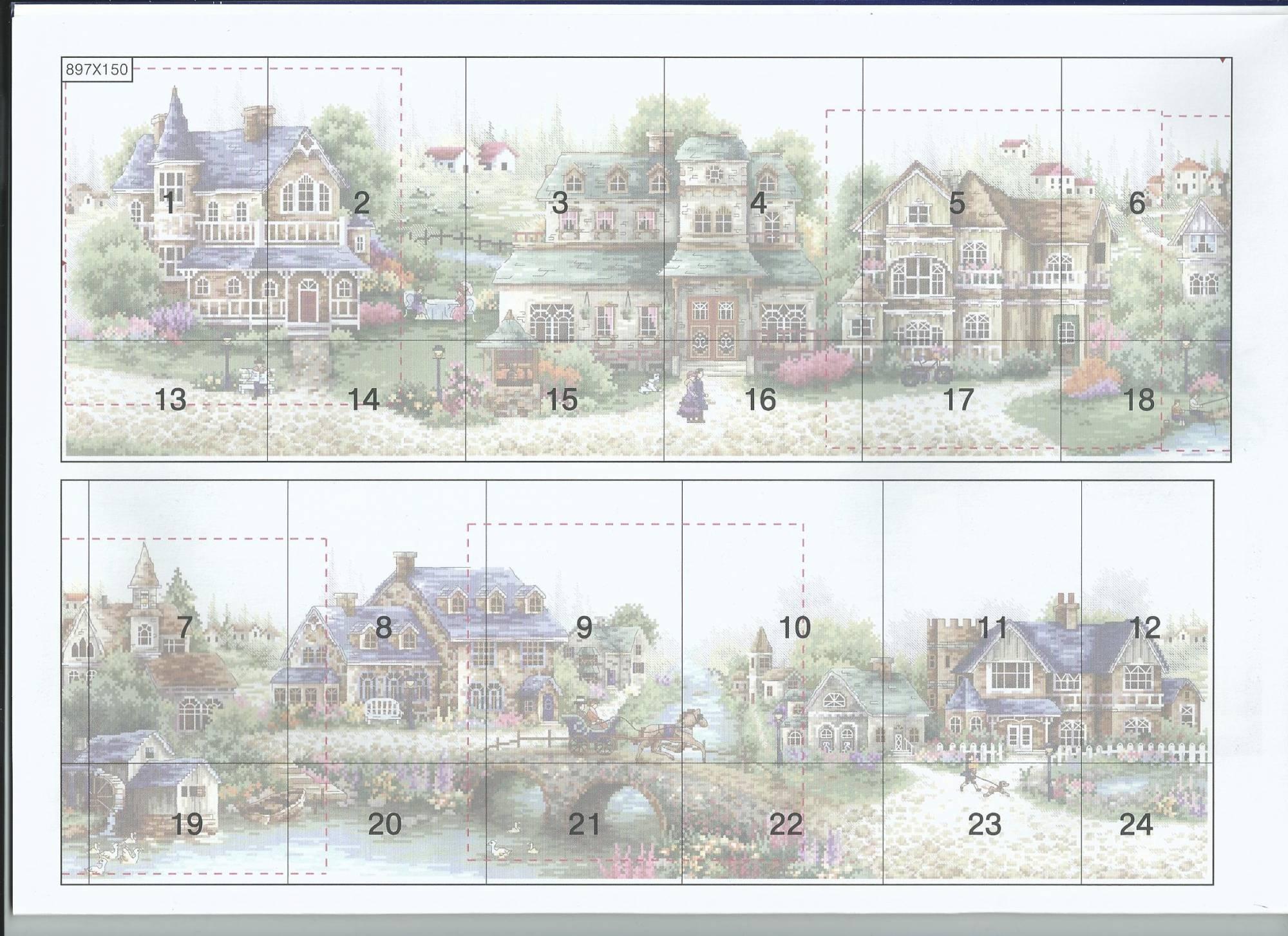 Схема для вышивки зеленая деревенька 97