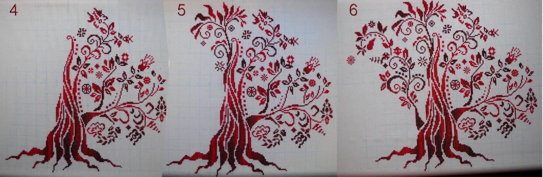 Монохромная вышивка дерево