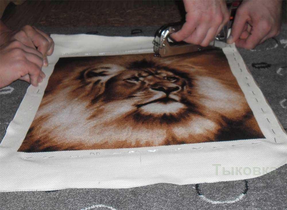 Оформление вышивка степлером